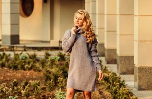 Elongated sweatshirt tunic dress.